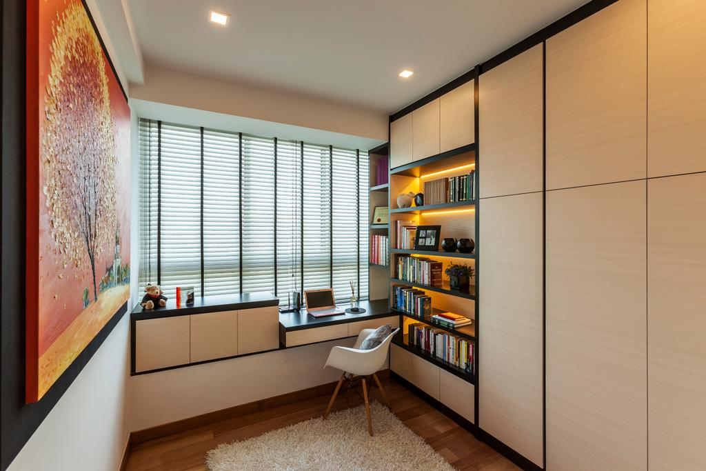 Modern, Condo, Study, Tribeca by the Waterfront, Interior Designer, The Interior Lab, Modern Study Room, Blinds, Built In Study Table, Built In Cupboard, Built In Shelves, Indoors, Interior Design, Hardwood, Stained Wood, Wood