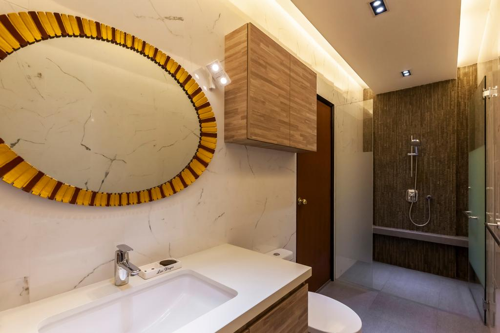 Contemporary, Landed, Bathroom, Maryland Drive, Interior Designer, The Interior Lab, Marble Wall, Round Mirror, Built In Cupboard, False Ceiling, Cove Lighting, Downlights, Sink Countertop, Shower Glass Door, Indoors, Interior Design, Room