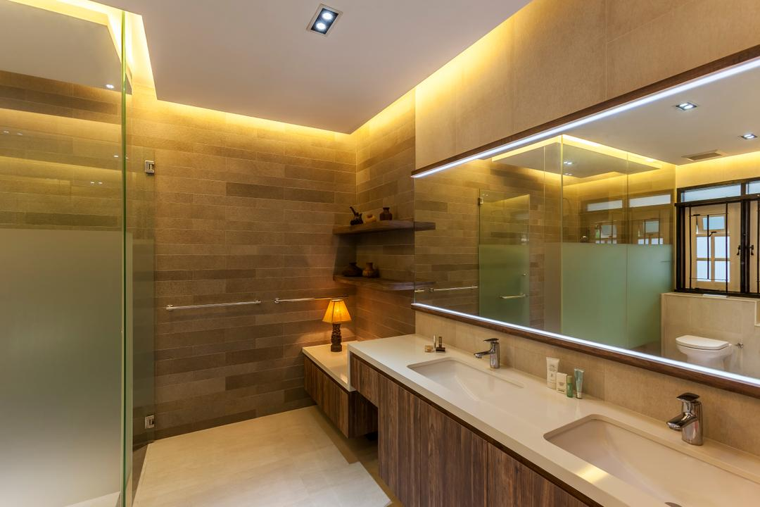 Maryland Drive, The Interior Lab, Contemporary, Bathroom, Landed, Modern Contemporary Bathroom, Sink Countertop, False Ceiling, Cove Lighting, Glass Shower Panel, Downlights, Mirror Lighting, Indoors, Interior Design, Room, Sink