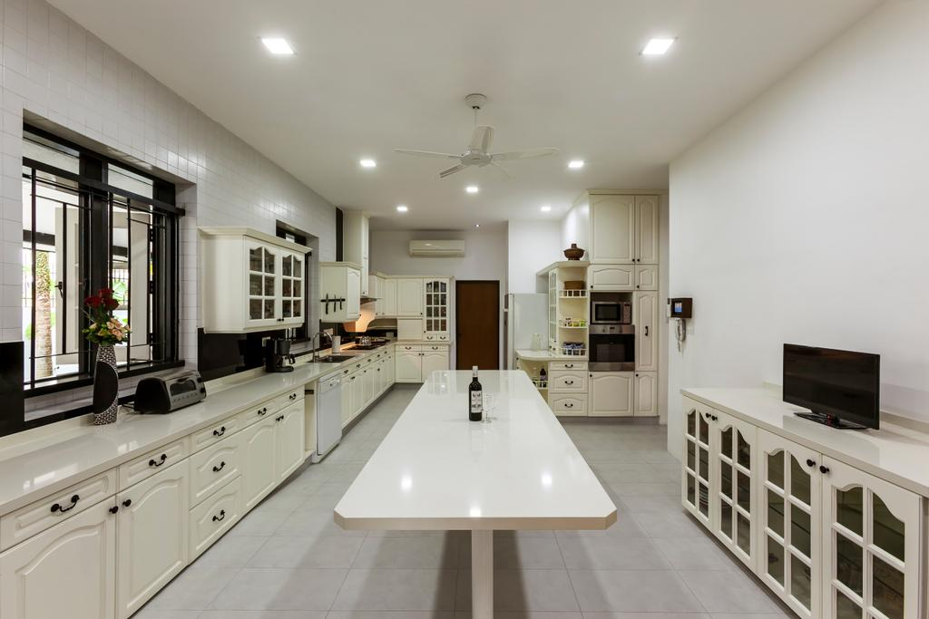 Contemporary, Landed, Kitchen, Maryland Drive, Interior Designer, The Interior Lab, Country Style Kitchen, Built In Cabinet, Built In Cupboard, Kitchen Island, Ceiling Fan, Downlights, Built In Appliances, Indoors, Interior Design, Room