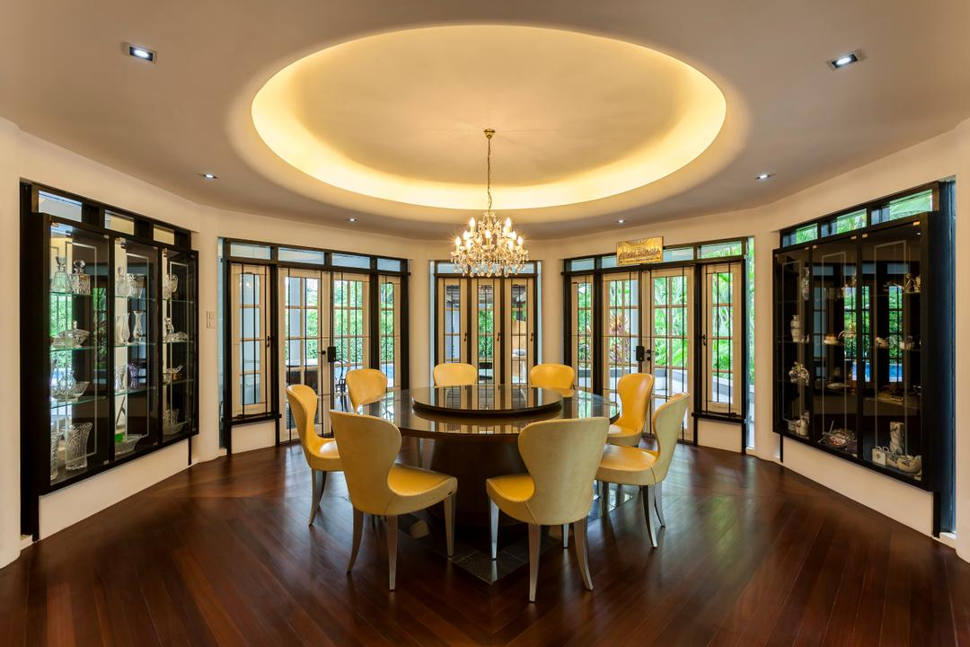 Maryland Drive, The Interior Lab, Contemporary, Dining Room, Landed, Modern Dining Room, Round False Ceiling, Cove Lighting, Wooden Flooring, Built In Cabinet, French Door, Crystal Chandelier, Downlights, Majestic, Chair, Furniture, Indoors, Room, Interior Design