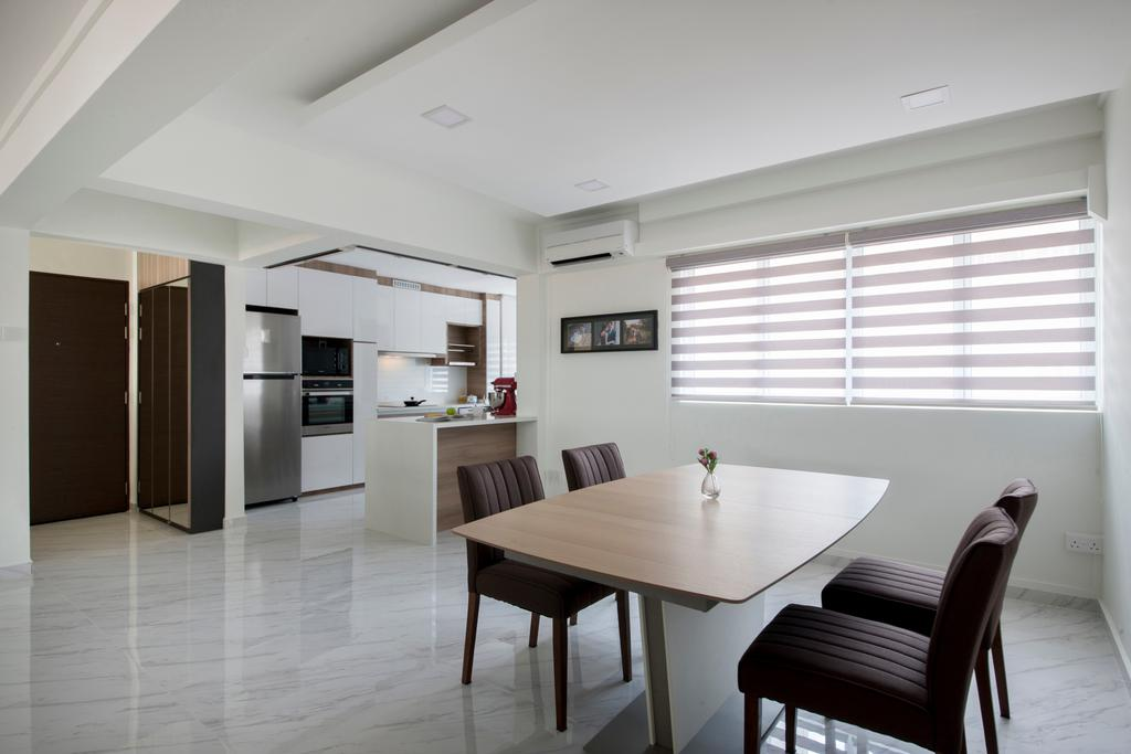 Modern, HDB, Dining Room, Shunfu Road, Interior Designer, Starry Homestead, Kitchen Open Concept, Blinds, False Ceiling, Downlights, Marble Flooring, Chair, Furniture, Indoors, Interior Design, Room, Dining Table, Table