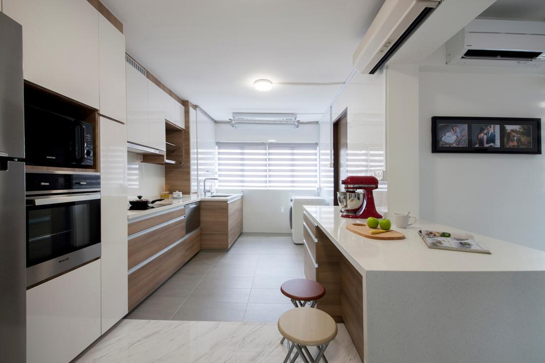 Shunfu Road, Starry Homestead, Modern, Kitchen, HDB, Open Concept Kitchen, Contemporary Kitchen, Ceiling Light, Marble Flooring, , Built In Peninsula, Stool, Appliance, Electrical Device, Oven, Indoors, Interior Design, Dining Room, Room