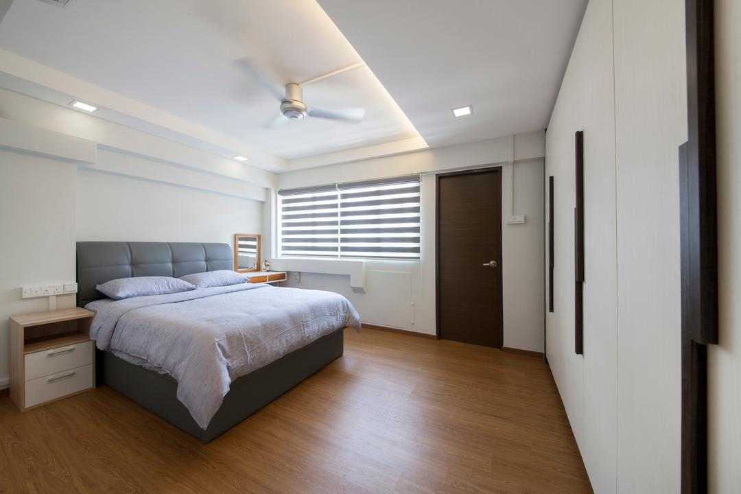 Shunfu Road, Starry Homestead, Modern, Bedroom, HDB, Padded Bed Frame, Built In Wardrobe, False Ceiling, Downlight, Kdk Ceiling Fan, Building, Housing, Indoors, Loft, Bed, Furniture, Interior Design, Room