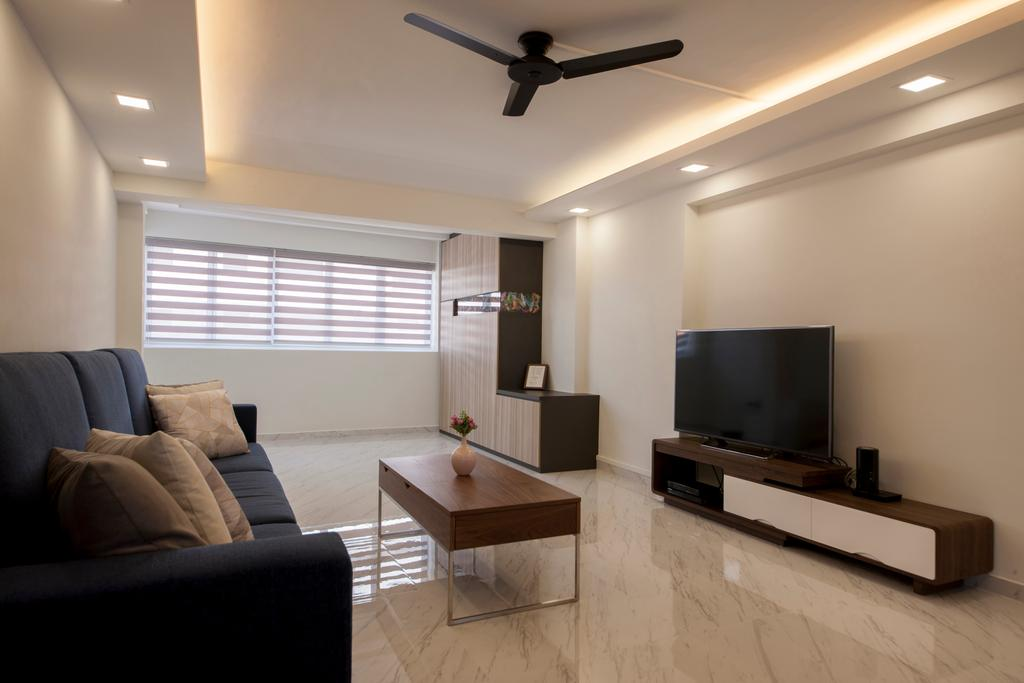 Modern, HDB, Living Room, Shunfu Road, Interior Designer, Starry Homestead, Couch, Furniture, Electronics, Monitor, Screen, Tv, Television, Light Fixture, Dining Table, Table, Indoors, Interior Design, Coffee Table