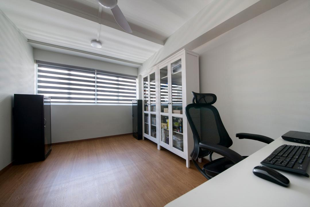 Shunfu Road, Starry Homestead, Modern, Study, HDB, Study Room, White Cabinet, Blinds, Laminated Flooring, False Ceiling, Swivel Chair, Chair, Furniture, Electronics, Keyboard