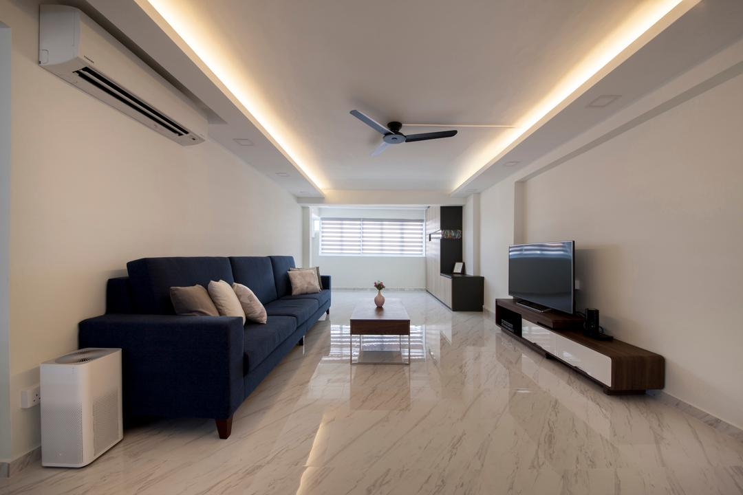 Shunfu Road, Starry Homestead, Modern, Living Room, HDB, False Ceiling, Cove Lighting, Marble Flooring, Black Sofa, Tv Console Table, Blinds, Modern Contemporary Living Room, Flooring, Couch, Furniture