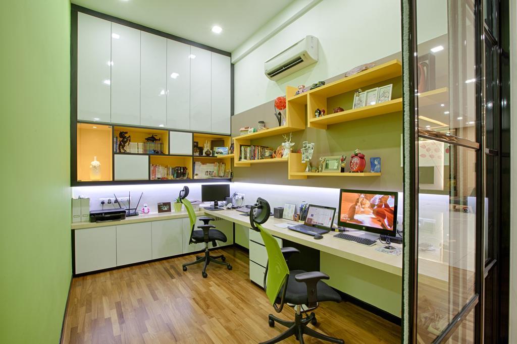 Condo, Study, Tropicana Grande, PJ, Interior Designer, GI Design Sdn Bhd, Indoors, Interior Design, Collage, Poster, Electronics, Monitor, Screen