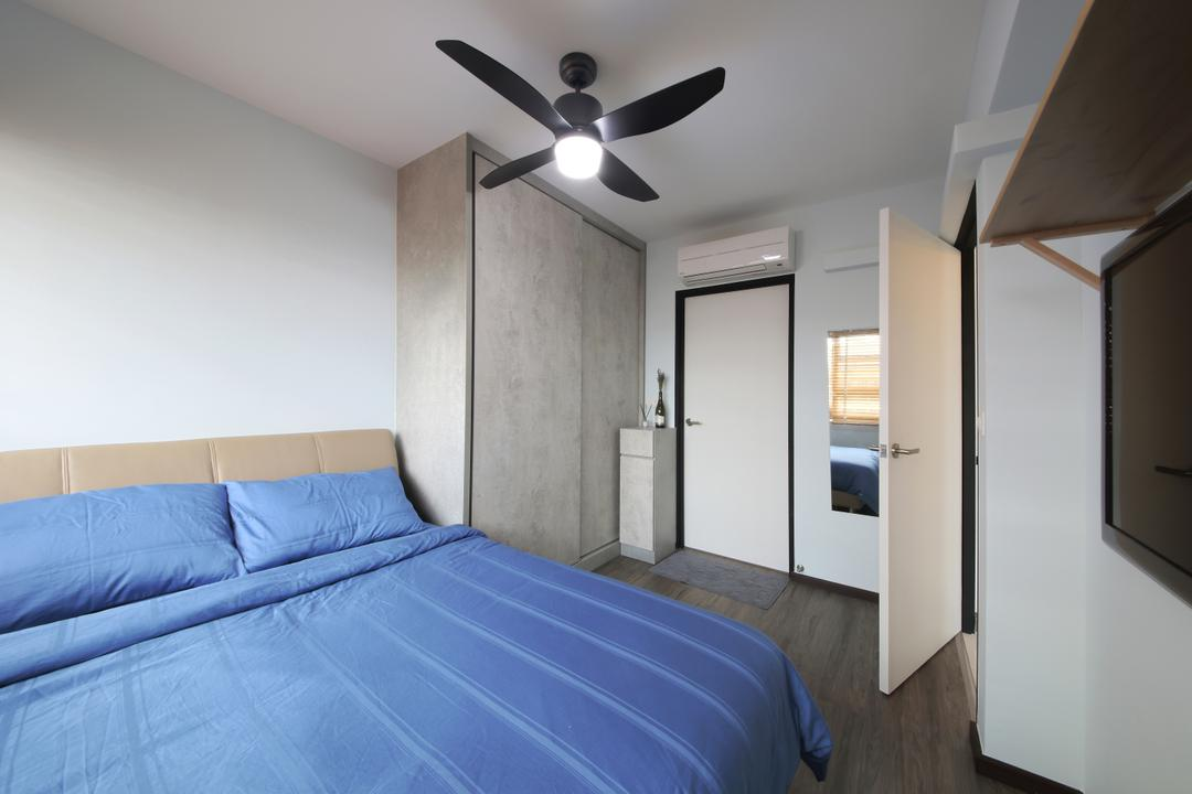 Hougang ParkEdge, Dap Atelier, Industrial, Scandinavian, Bedroom, HDB, Padded Bed Frame, Ceiling Fan, Built In Wardrobe, Wall Mounted Tv, Wall Shelf, Wall Mirror, Building, Housing, Indoors, Loft, Interior Design, Room, Lighting