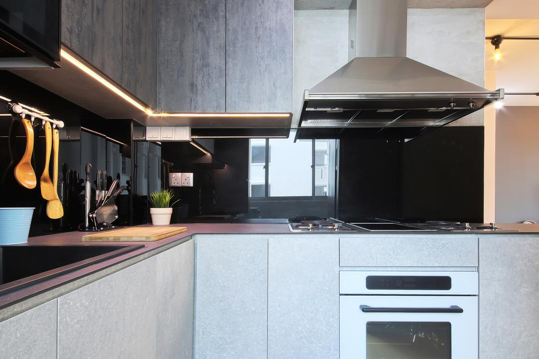 Hougang ParkEdge, Dap Atelier, Industrial, Scandinavian, Kitchen, HDB, Kitchen Hood, Built It Appliances, Carpentry, Grey Kitchen, Laminated Countertop, Kitchenware, Appliance, Electrical Device, Oven, Indoors, Interior Design, Room