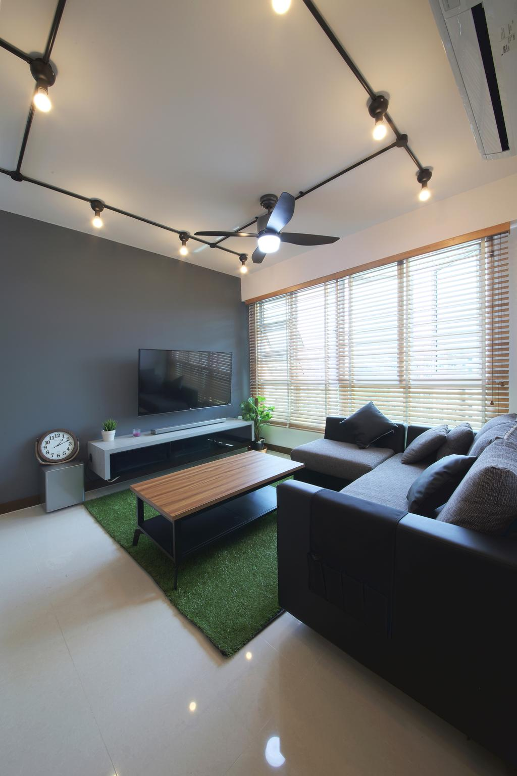 Industrial, HDB, Living Room, Hougang ParkEdge, Interior Designer, Dap Atelier, Scandinavian, Industrial Living Room, Track Light, Ceiling Fan, Sectional Sofa, Dark Grey Wall, Blinds, Industrial Table, Grass Carpet, Couch, Furniture, Indoors, Interior Design