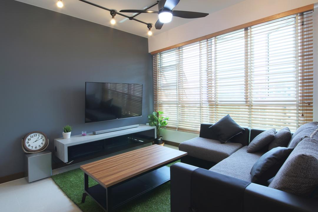 Hougang ParkEdge, Dap Atelier, Industrial, Scandinavian, Living Room, HDB, Industrial Living Room, Track Light, Ceiling Fan, Sectional Sofa, Dark Grey Wall, Blinds, Industrial Table, Grass Carpet, Couch, Furniture, Indoors, Interior Design
