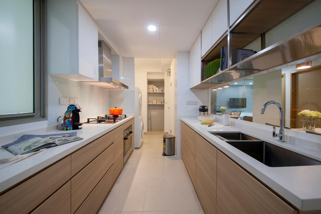 The Calrose, Space Concepts Design, Modern, Kitchen, Condo, Modern Kitchen, Laminated Countertop, Built In Cupboard, Downlight, Carpentry, Indoors, Interior Design, Room