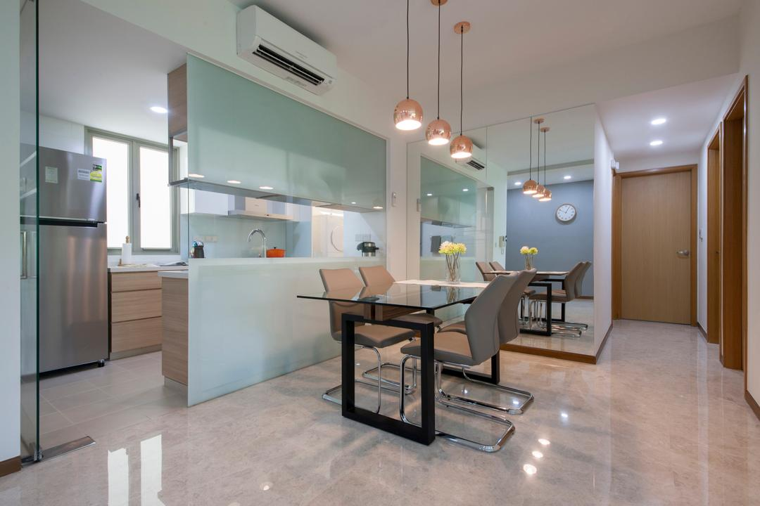 The Calrose, Space Concepts Design, Modern, Dining Room, Condo, Modern Dining Room, Marble Flooring, Rose Gold Lighting, Glass Panel, Huge Mirror, Corridor, Flooring, Dining Table, Furniture, Table, Chair, Indoors, Interior Design, Room