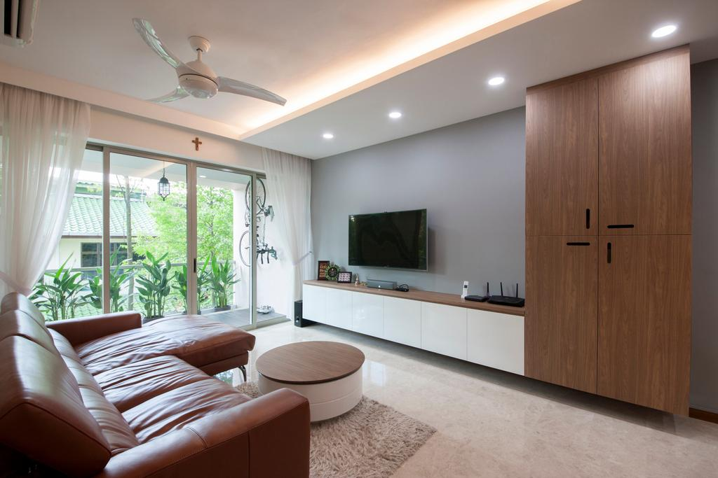 Modern, Condo, Living Room, The Calrose, Interior Designer, Space Concepts Design, Modern Living Room, False Ceiling, Downlights, Ceiling Fan, Floating Console, Built In Cupboard, Carpentry, Sliding Door, Sling Curtain, Balcony, Wall Mounted Tv, Grey Wall, Marble Flooring, Couch, Furniture, Door, Folding Door, Indoors, Interior Design