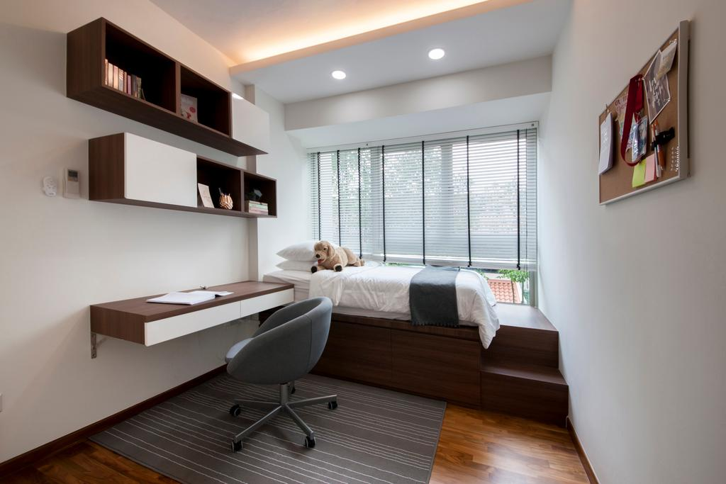 Modern, Condo, Bedroom, The Calrose, Interior Designer, Space Concepts Design, Modern Bedroom, Platform Bed, Built In Shelves, False Ceiling, Modern Study Table, Cove Lighting, Blinds, Swivel Chair, , Chair, Furniture