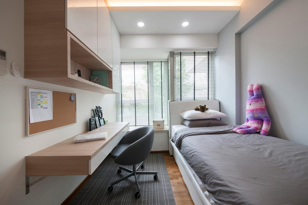 The Calrose, Space Concepts Design, Modern, Bedroom, Condo, Modern Bedroom, False Ceiling, Built In Cupboard, Swivel Chair, Downlights, Cove Lighting, Wooden Flooring, Blinds, Carpentry, Chair, Furniture, White Board, Indoors, Room