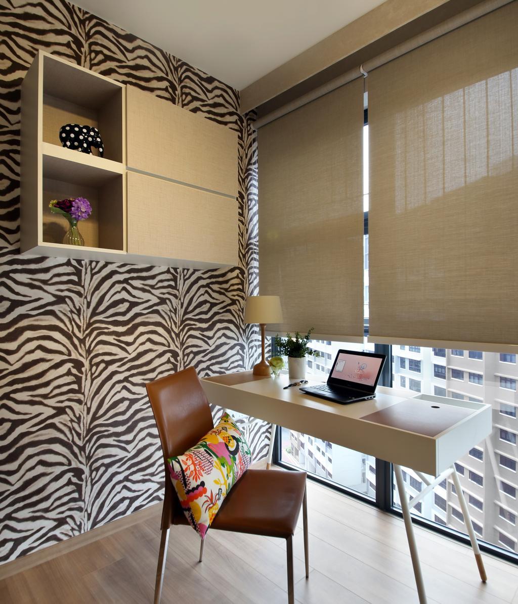 Contemporary, Condo, Bedroom, Blossom Residences, Interior Designer, Vegas Interior Design, Computer, Electronics, Laptop, Pc, Flora, Jar, Plant, Potted Plant, Pottery, Vase