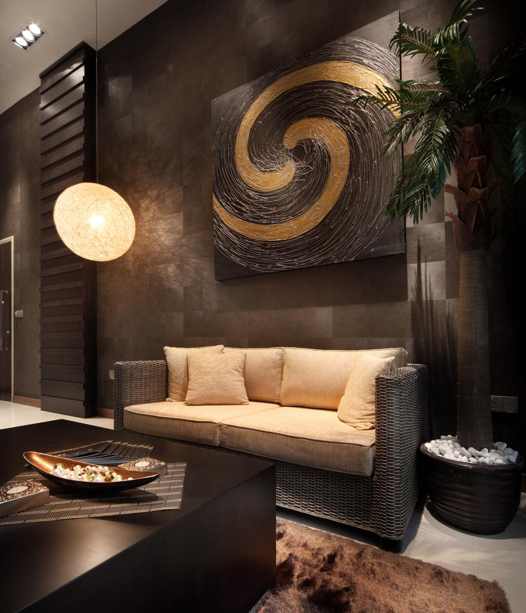 Eclectic, Condo, Living Room, The Serennia, Interior Designer, Vegas Interior Design, Couch, Furniture, Flora, Jar, Plant, Potted Plant, Pottery, Vase