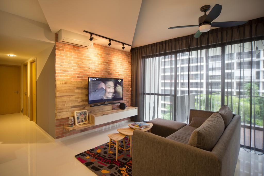 Industrial, Condo, Living Room, Twin Waterfalls (Block 122), Interior Designer, Vegas Interior Design, Couch, Furniture, Fireplace, Hearth, Indoors, Interior Design, Carpet, Home Decor