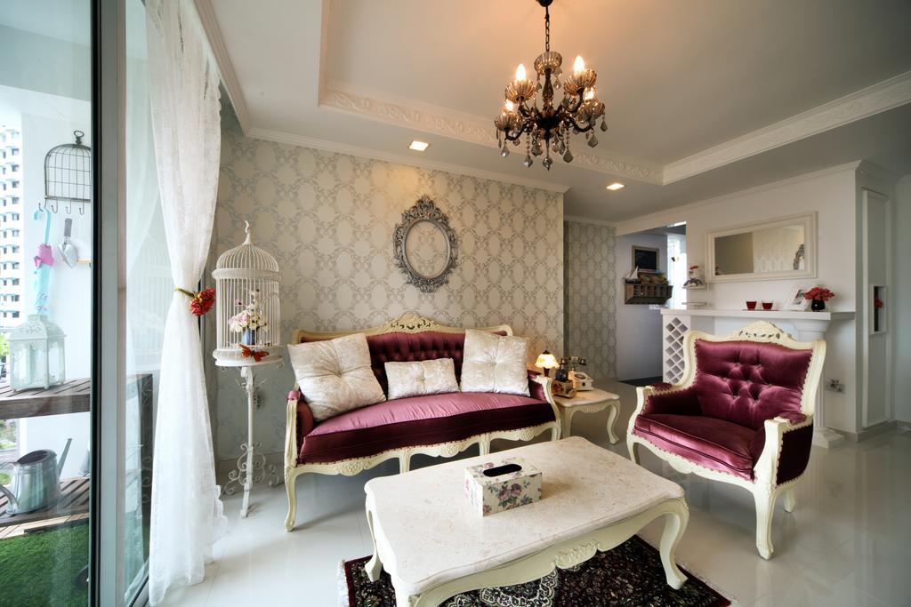 Vintage, HDB, Living Room, Bishan Street 24 (Block 273A), Interior Designer, Vegas Interior Design, Chandelier, Lamp, Light Fixture, Indoors, Interior Design, Bedroom, Room