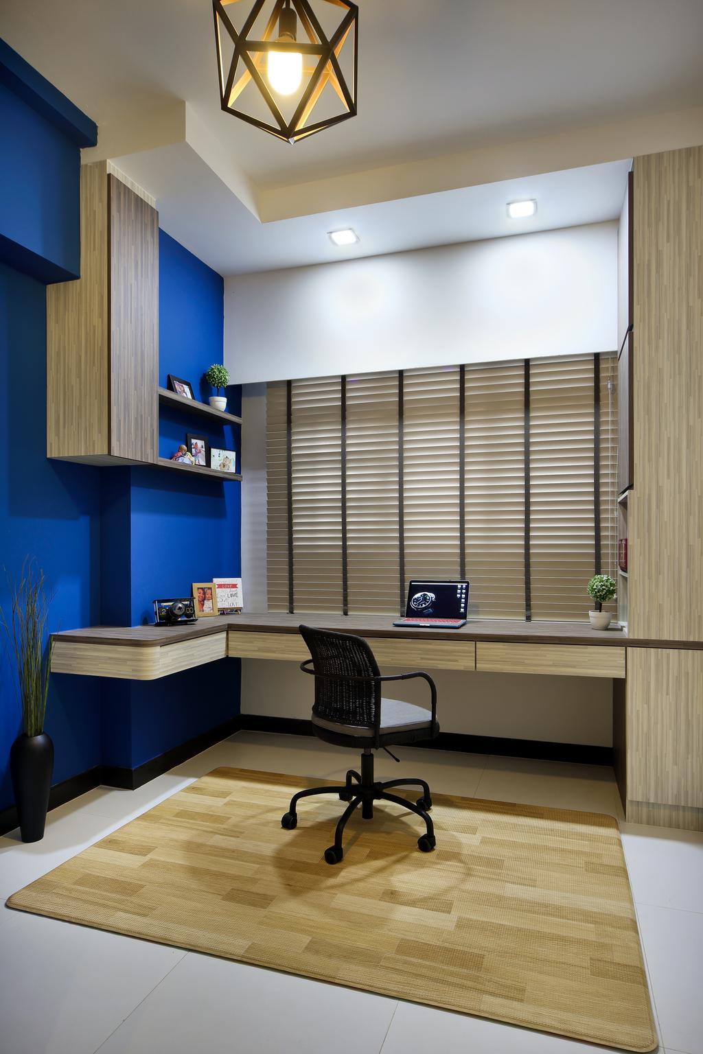 Scandinavian, HDB, Bedroom, Boon Lay Drive (Block 196B), Interior Designer, Vegas Interior Design, Chair, Furniture, Shelf, Desk, Table