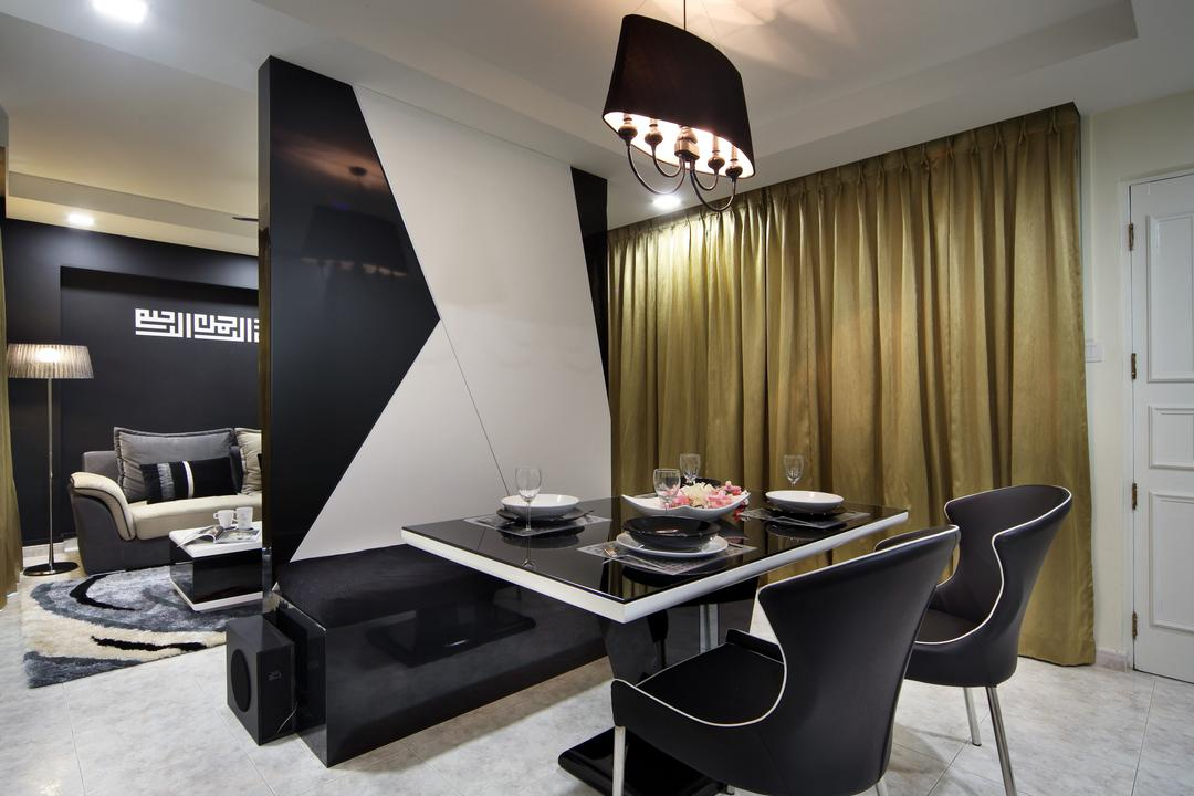 Rivervale Drive (Block 120B), Vegas Interior Design, Modern, Contemporary, Dining Room, HDB, Contemporary Living Room, Black Shade Chandelier, Curtain, Transitional Dining Set, Ceramic Tiles, Chair, Furniture, Dining Table, Table, Lighting, Light Fixture, Indoors, Interior Design, Room