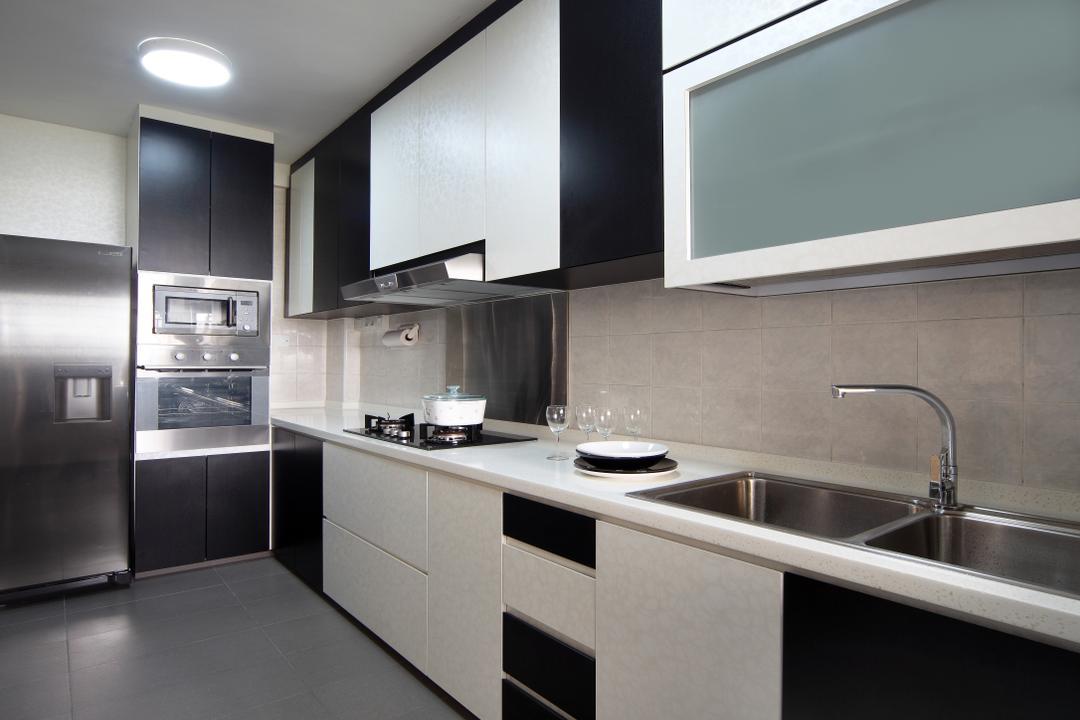 Rivervale Drive (Block 120B), Vegas Interior Design, Modern, Contemporary, Kitchen, HDB, Modern Kitchen, Ceiling Light, Laminated Countertop, Stove Countertop, Built In Cupboard, Sink, Indoors, Interior Design, Room