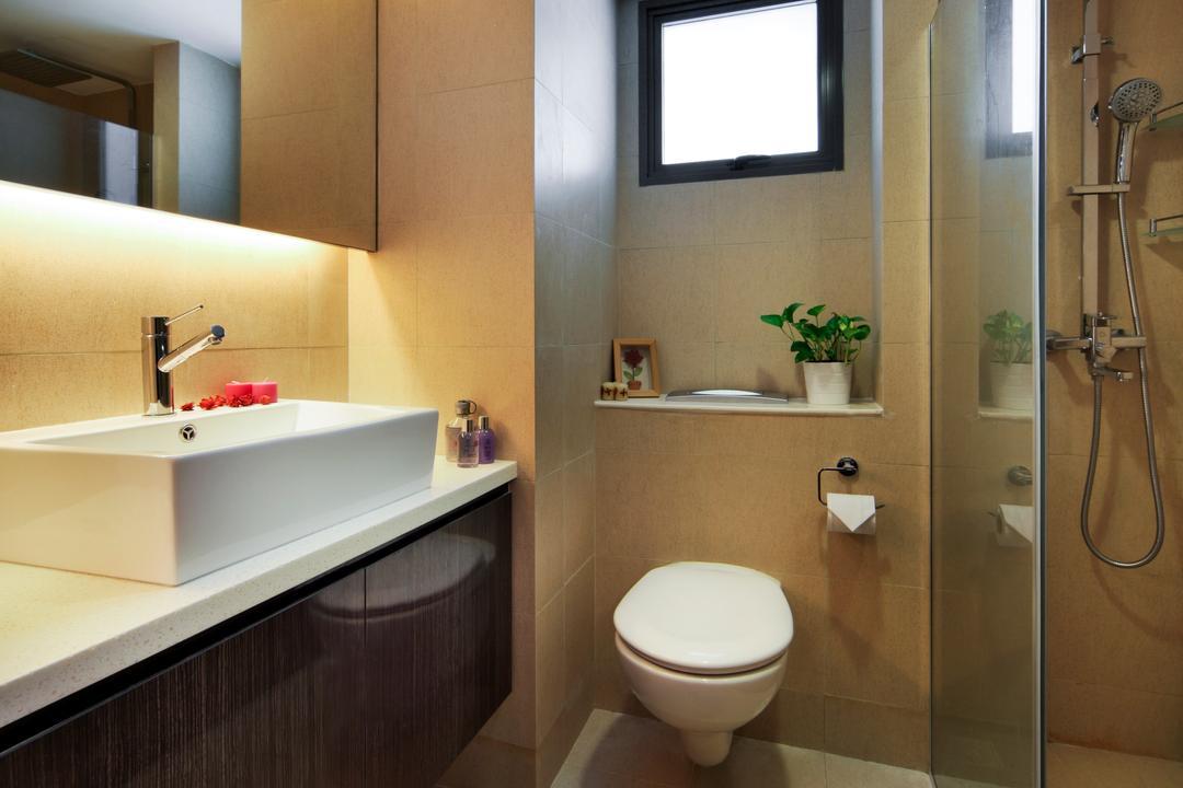 The Pinnacle@Duxton (Block 1E), Vegas Interior Design, Modern, Contemporary, Bathroom, HDB, Hidden Interior Lighting, Ceramic Tiles, Wooden Cupboard, Wooden Cabinet, Toilet, Sink, Indoors, Interior Design, Room