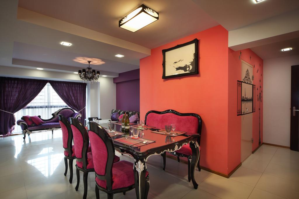 Traditional, HDB, Dining Room, The Pinnacle@Duxton (Block 1G), Interior Designer, Vegas Interior Design, Hanging Lights, Pink Dining Chair, Grand, Classy, Glass Dining Table, Recessed Lights, Chair, Furniture, Indoors, Interior Design, Room, Clothing, Footwear, High Heel, Shoe, Dining Table, Table