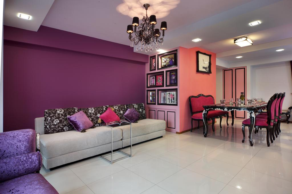 Traditional, HDB, Living Room, The Pinnacle@Duxton (Block 1G), Interior Designer, Vegas Interior Design, Chandelier, White Ceramic Tiles, Purple Wall, Colourful Theme, Girls Room, Girl Theme, Classy, Recessed Lights, Pink Walls, Spacious, Couch, Furniture, Lamp, Chair, Dining Table, Table, Indoors, Room