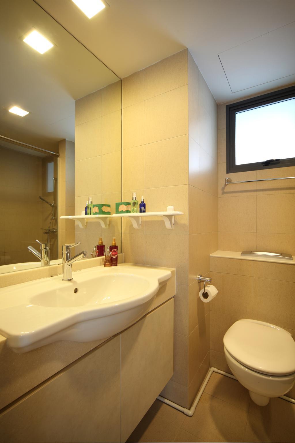Traditional, HDB, Bathroom, The Pinnacle@Duxton (Block 1G), Interior Designer, Vegas Interior Design, Recessed Lights, Ceramic Tiles, Indoors, Interior Design, Room, Sink