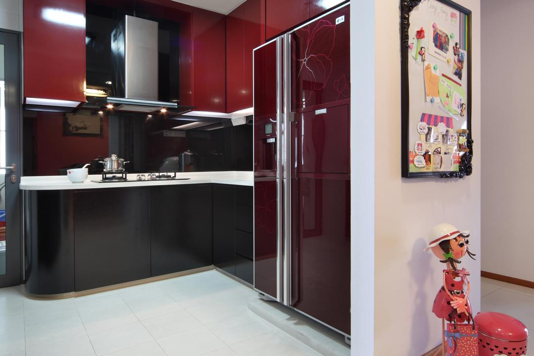 The Pinnacle@Duxton (Block 1G), Vegas Interior Design, Traditional, Kitchen, HDB, Ceiling Lights, Magenta Kitchen Cabinet, Magenta Cupboard, Magenta Refrigerator
