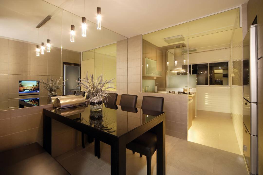 Towner Road (Block 105), Vegas Interior Design, Modern, Contemporary, Dining Room, HDB, Modern Contemporary Dining Room, Modern Dining Set, Glass Kitchen, Flora, Jar, Plant, Potted Plant, Pottery, Vase, Appliance, Electrical Device, Indoors, Interior Design, Oven, Room, Chair, Furniture, Dining Table, Table, Bathroom