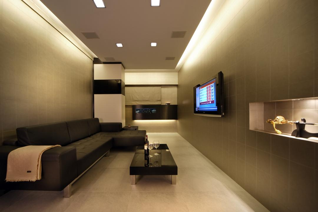 Towner Road (Block 105), Vegas Interior Design, Modern, Contemporary, Living Room, HDB, False Ceiling, Cove Lighting, Downlights, Sectional Sofa, Wall Mounted Tv, Tv Wall Panel, Built In Shelf, Modern Contemporary Living Room, Couch, Furniture, Indoors, Interior Design