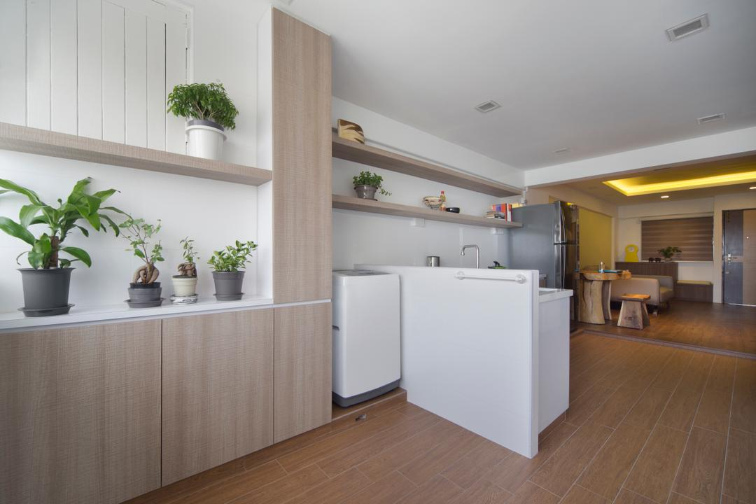 Yishun Ave 5 (Block 706), Vegas Interior Design, Modern, Contemporary, Kitchen, HDB, Plant Decor, Scandinavian Kitchen, Built In Cupboard, Carpentry, Downlights, Wooden Floor, Wooden Flooring, Flora, Jar, Plant, Planter, Potted Plant, Pottery, Vase, Indoors, Interior Design