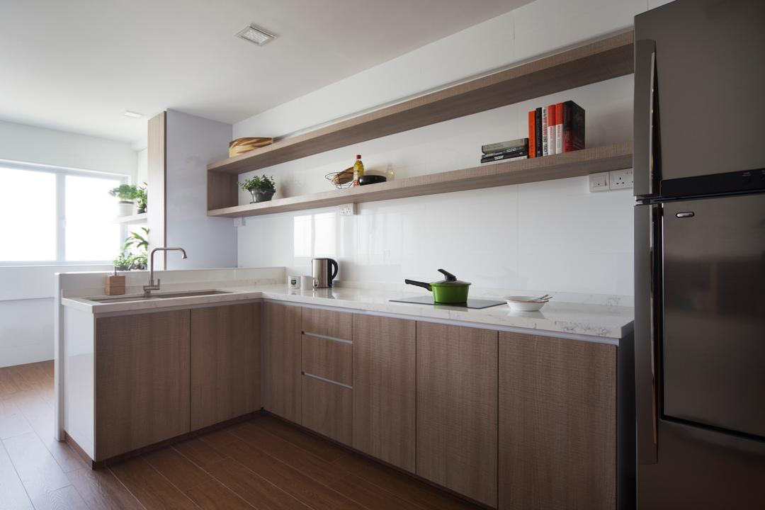 Yishun Ave 5 (Block 706), Vegas Interior Design, Modern, Contemporary, Kitchen, HDB, Scandinavian Kitchen, Built In Cupbord, Downlight, Marble Countertop, Built In Shelf, Hardwood, Wood, Indoors, Interior Design, Room