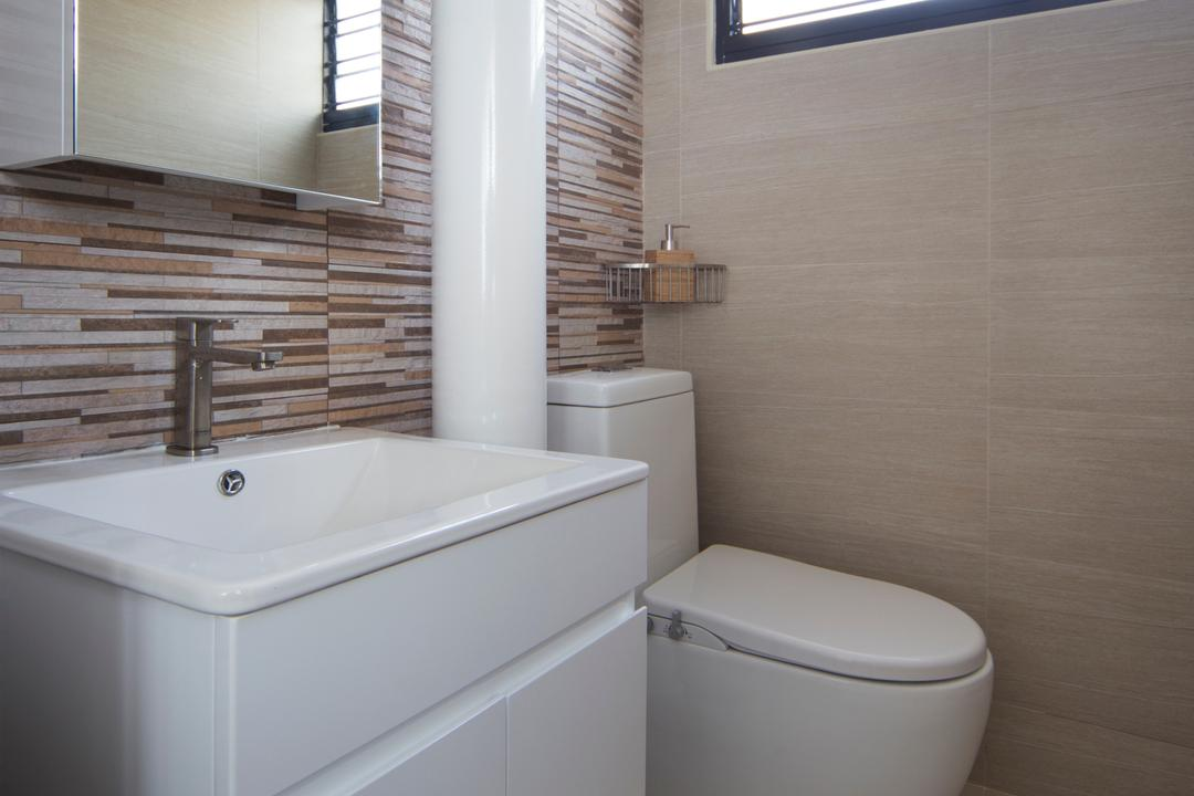 Yishun Ave 5 (Block 706), Vegas Interior Design, Modern, Contemporary, Bathroom, HDB, Modern Toilet, Feature Wall, Boxy Sink, Mirror Cabinet, Ceramic Tiles, Toilet, Sink, Indoors, Interior Design, Room