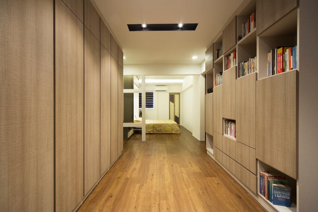 Yishun Ave 5 (Block 706), Vegas Interior Design, Modern, Contemporary, Bedroom, HDB, Spacious Bedroom, Built In Wardrobe, Built In Storage Unit, Downlights, Wooden Flooring, Bookshelf, Wooden Wardrobe, Book, Floor, Flooring