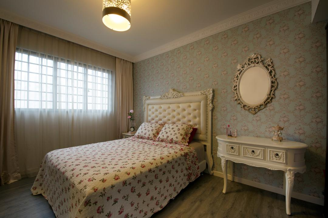 Yishun Street 71 (Block 720), Vegas Interior Design, Traditional, Bedroom, HDB, Traditional Bedroom, Traditiona Furniture, Sling Curtain, Wallpaper, Traditional Mirror, Round Shade Chandelier, Traditional Drawer, Cozy, Cosy, Indoors, Interior Design, Room, Bed, Furniture
