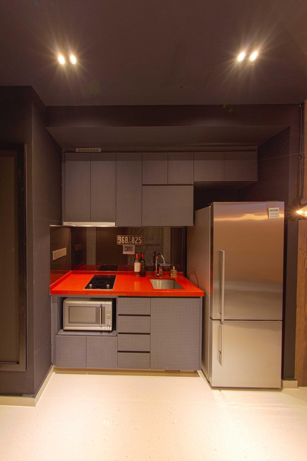 Industrial, Condo, Kitchen, Lengkong Court, Interior Designer, Juz Interior, Red Kitchen Top, Appliance, Electrical Device, Fridge, Refrigerator