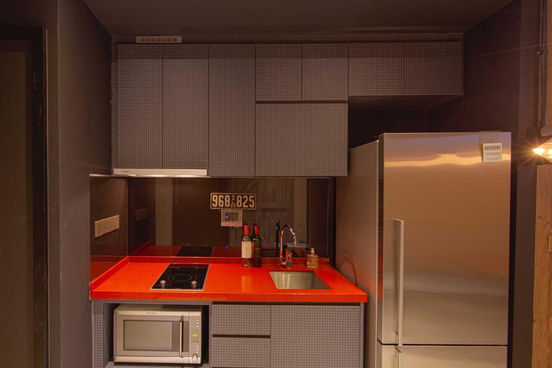 Lengkong Court, Juz Interior, Industrial, Kitchen, Condo, Red Kitchen Top, Appliance, Electrical Device, Fridge, Refrigerator