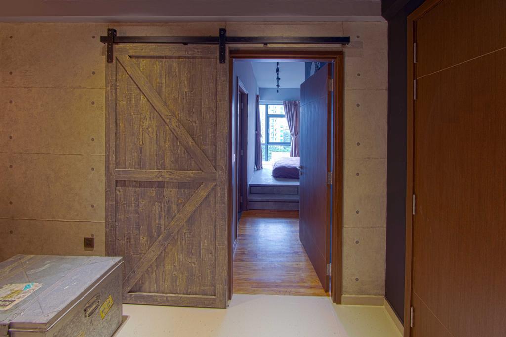 Industrial, Condo, Bedroom, Lengkong Court, Interior Designer, Juz Interior, Industrial Look, Door, Indoors, Interior Design, Room