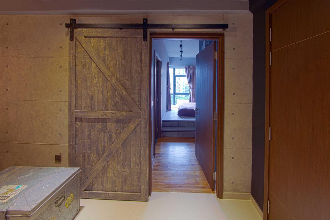 Lengkong Court, Juz Interior, Industrial, Bedroom, Condo, Industrial Look, Door, Indoors, Interior Design, Room
