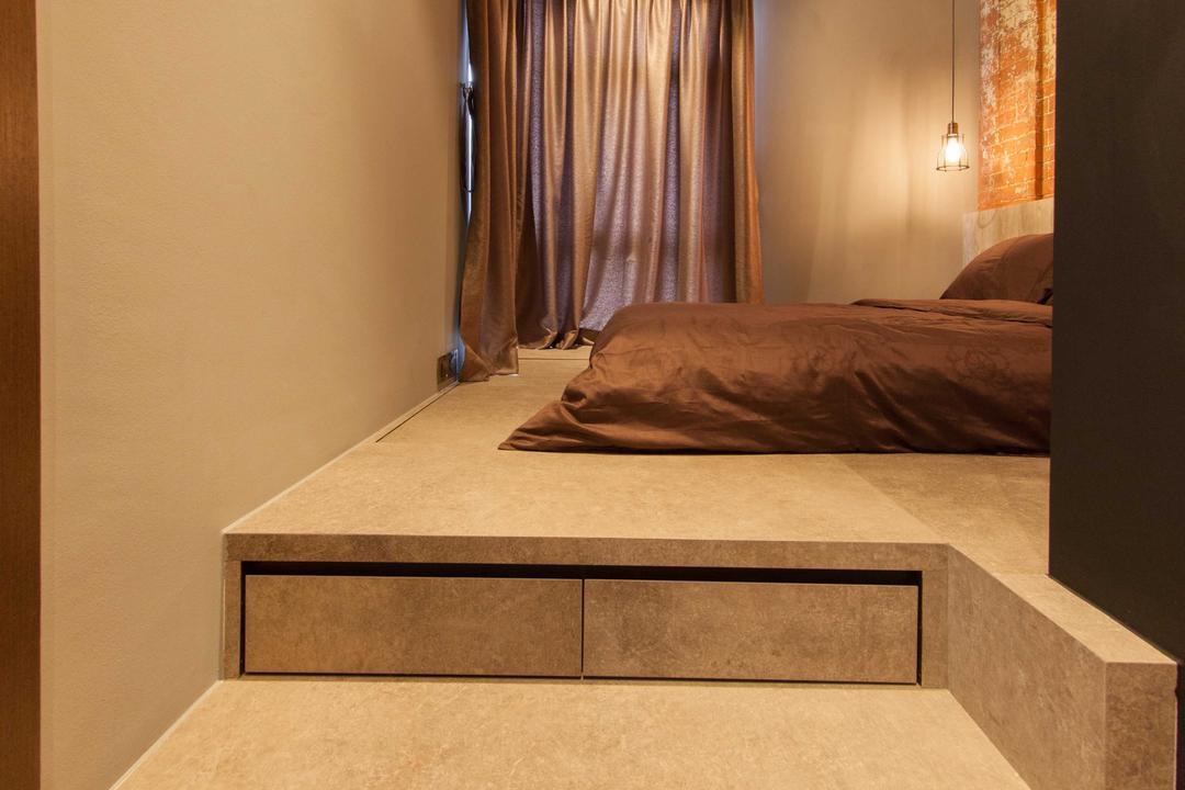 Lengkong Court, Juz Interior, Industrial, Bedroom, Condo, Steps, Raised Steps, Elevated Floor, Bed, Furniture
