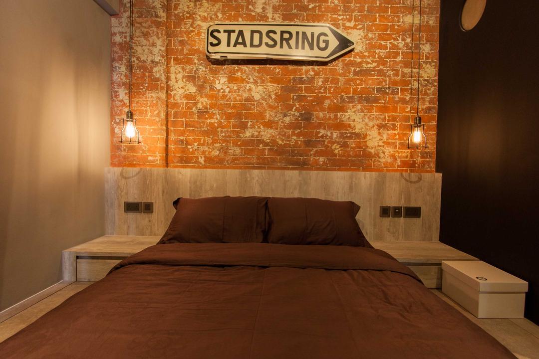 Lengkong Court, Juz Interior, Industrial, Bedroom, Condo, Brick Wall, Sign, Indoors, Interior Design, Room