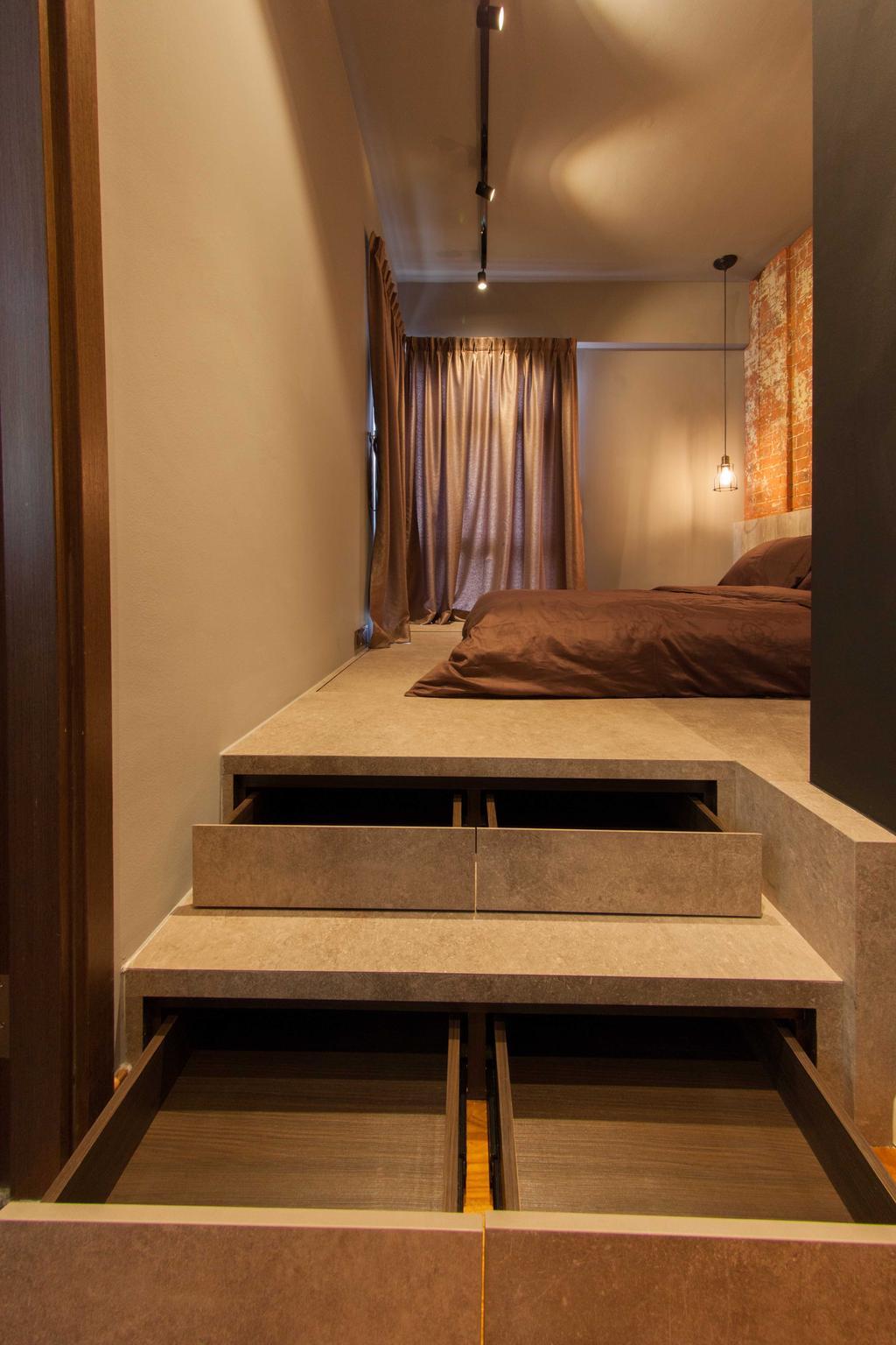 Industrial, Condo, Bedroom, Lengkong Court, Interior Designer, Juz Interior, Drawer, Elevated Floor, Bed, Furniture