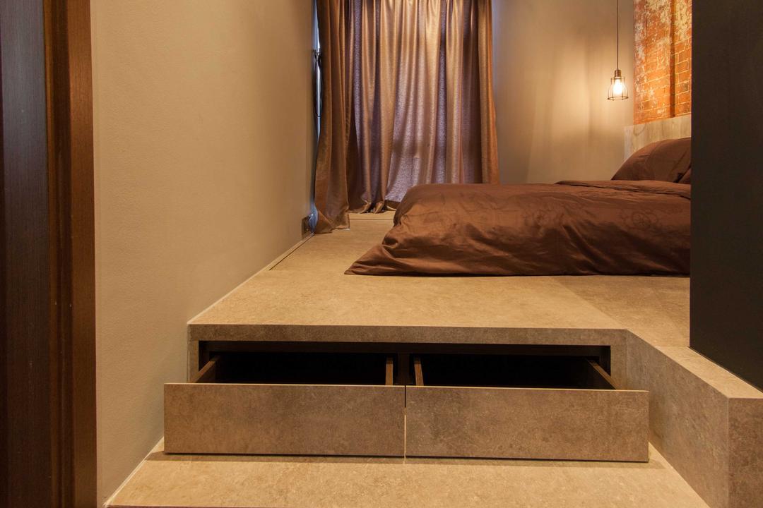 Lengkong Court, Juz Interior, Industrial, Bedroom, Condo, Drawer, Elevated Floor, Bed, Furniture