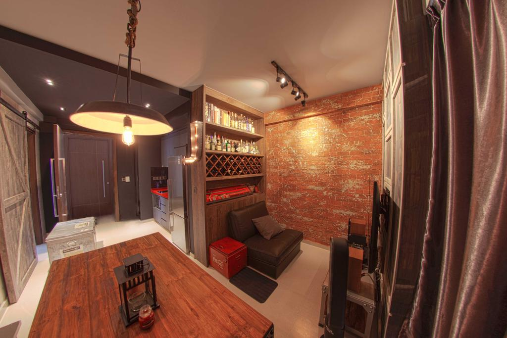 Industrial, Condo, Dining Room, Lengkong Court, Interior Designer, Juz Interior, Pendant Light, Brick Wall, Wooden Table, Hearth, Indoors, Interior Design, Room