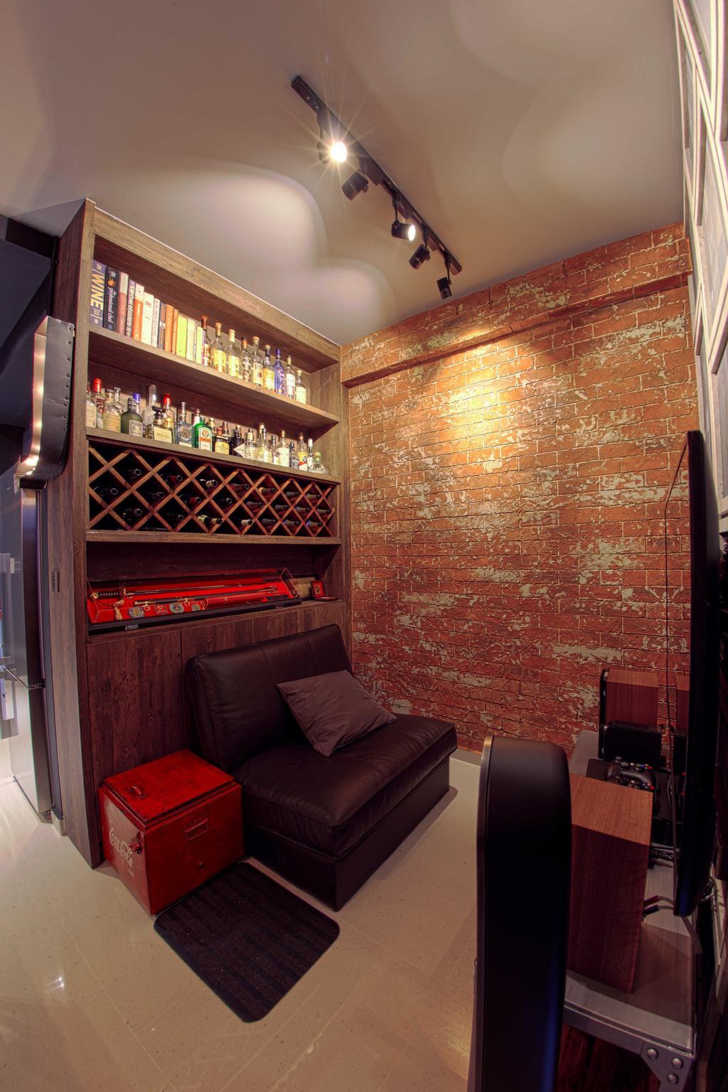 Industrial, Condo, Living Room, Lengkong Court, Interior Designer, Juz Interior, Track Lighting, Brick Wall, Open Shelf